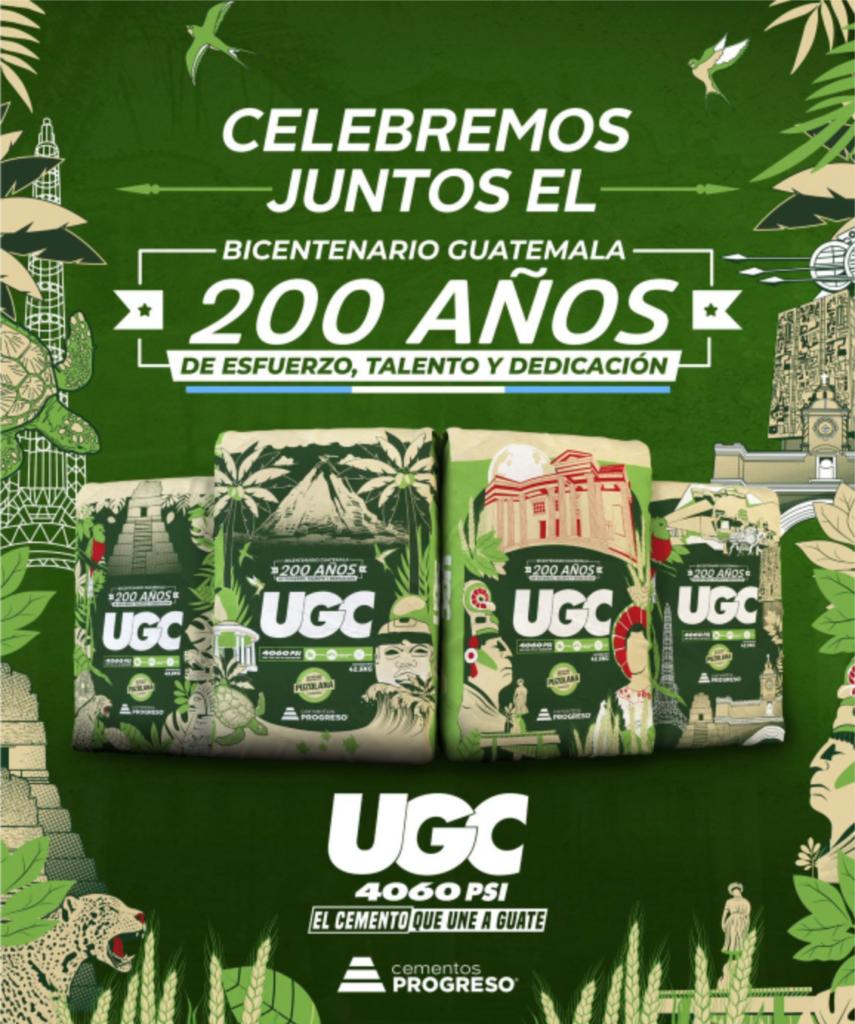 4 sacos ugc conmemorativos guatemala 200 1821 2021 bicentenario independencia